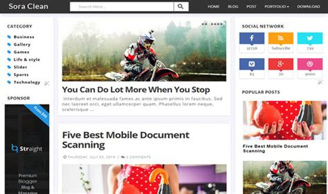 blogger themes protemplateslab sora clean blogger template
