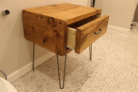 Nightstand Metal Legs by Bedroom Single Drawer Reclaimed Wood Nightstand With Metal