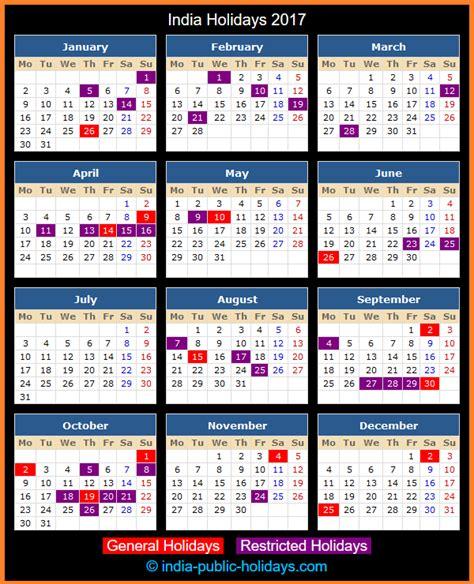 Calendar 2016 Holidays India India Holidays 2017