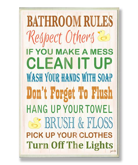 kids bathroom signs bathroom rules rubber ducky wall plaque daily deals