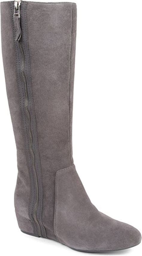 nine west maleficentn suede knee high boots in gray grey