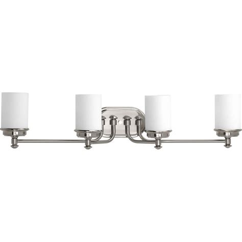 progress lighting calven collection 4 light brushed nickel bath light p3236 09wb the home depot progress lighting glide collection 4 light brushed nickel bathroom vanity light with glass