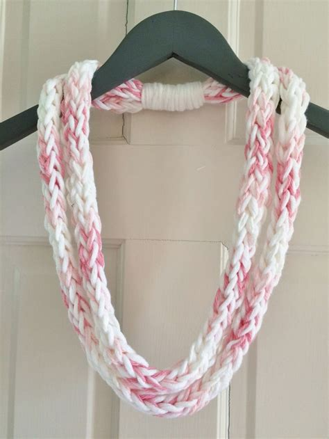 how to make a finger knit scarf wider pink shades infinity scarf necklace accessory finger