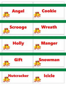Printable christmas game cards for pictionary or charades hangman or