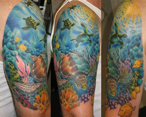 water themed tattoos tattoos theme halve sleeve tattoos