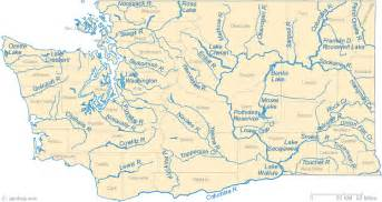 map of with cities and rivers map of washington lakes streams and rivers