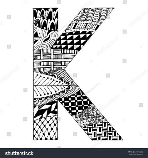 K Letter Doodle zentangle stylized alphabet letter k vector stock vector
