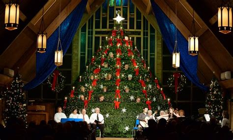 mt prospect church choir performs in a christmas tree