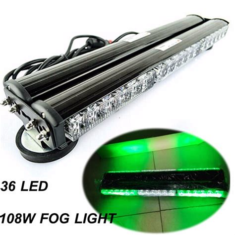 Car Led Light Bars Car Vehicle 12v Green White Side 108w Led Car Work Light Bar Beacon Warning Strobe Light