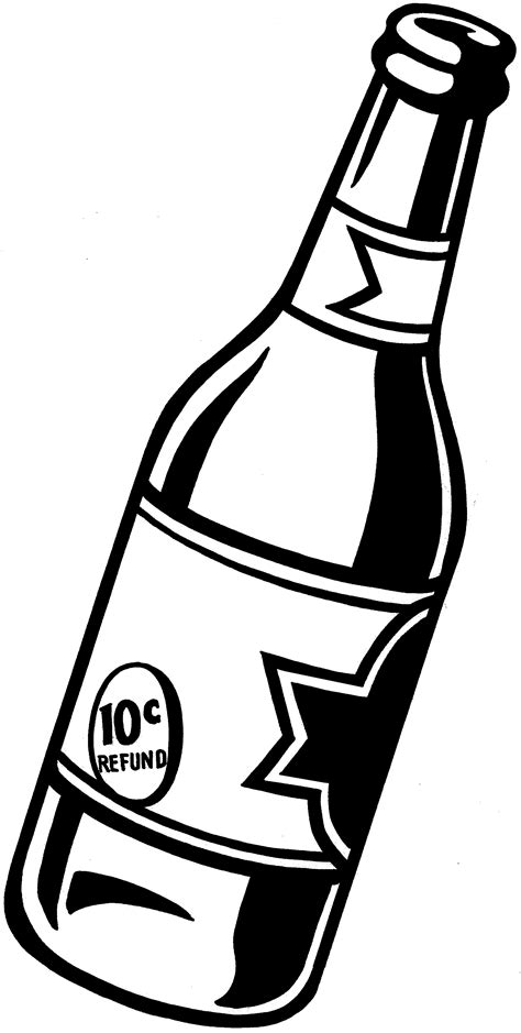 cartoon beer black and white beer bottle clipart clipart suggest