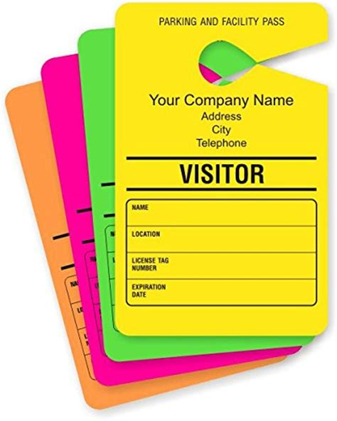 Visitor Parking Temporary Parking Permit Mirror Hang Tags Paper 50 Tags Pack 3 5 Quot X 5 5 Visitor Parking Pass Template