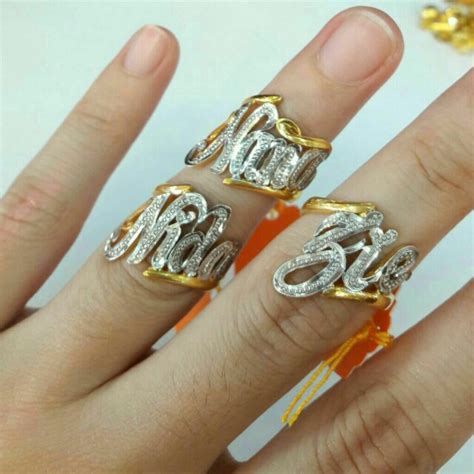 Gelang Ukir Nama cincin ukir nama emas 916 fesyen wanita perhiasan wanita
