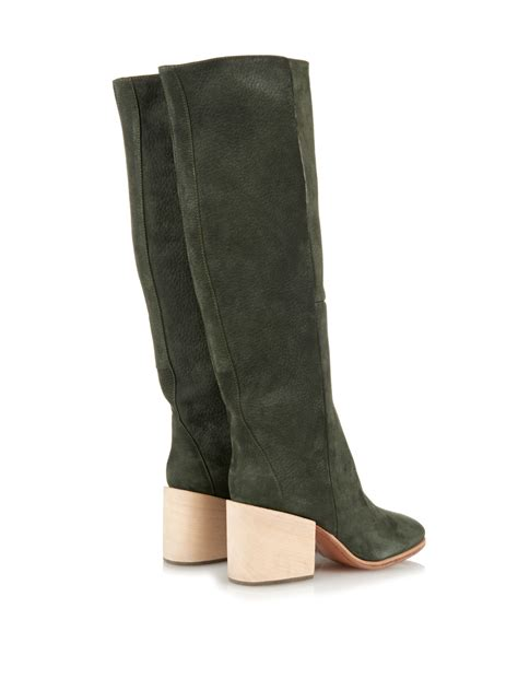 comey boots comey fisk brushed leather boots in green lyst