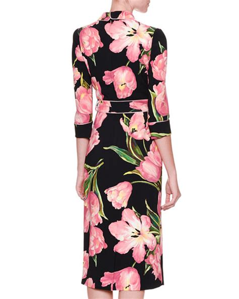 Ghivenchy Rosblack New dolce gabbana tulip print pajama wrap dress black