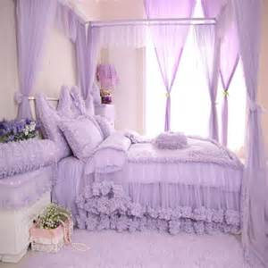 Purple polka dot girls lace ruffle bowtie cotton duvet cover bedding