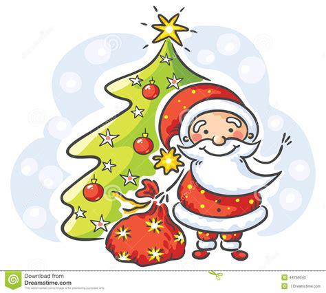 santacruz with christmas tree animated santa with presents and tree stock vector image 44759340