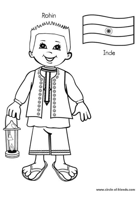 Coloriage enfant inde sur Hugolescargot.com