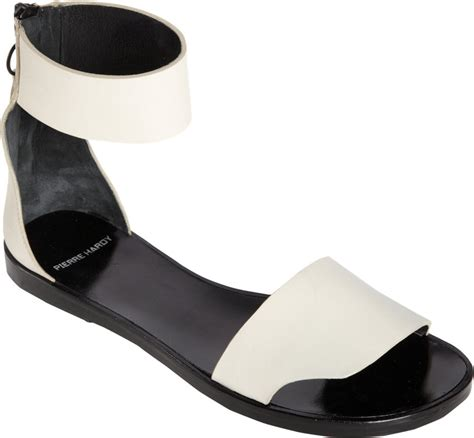ankle cuff flat sandals hardy ankle cuff flat sandal in white lyst