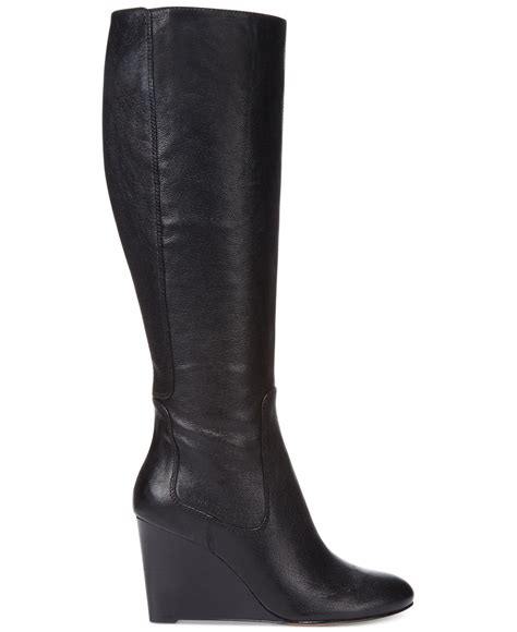 nine west heartset wedge wide calf dress boots in