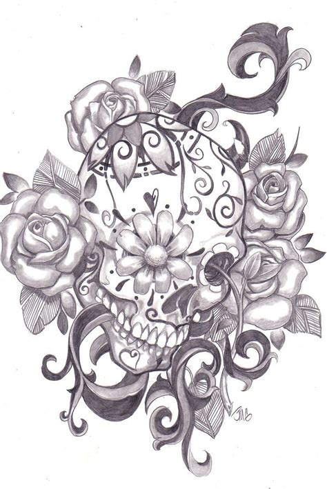 flower and skull tattoo design skull flowers design tats and rock n roll