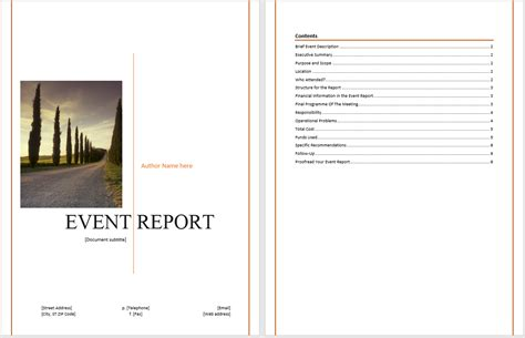 report templates for word event report template microsoft word templates