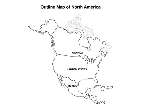 coloring page for north america printable map of north america pic outline map of north