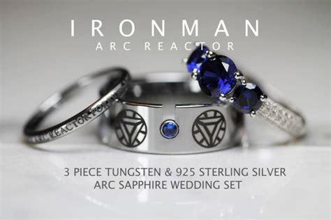 iron man wedding ring set iron man tungsten and 925 sterling silver 3 33 carat cz