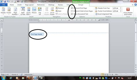 creating header and footer in pages how to make header and footer on first page only using