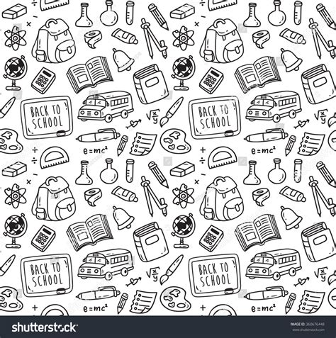 doodle school free back school themed doodle seamless background stock vector