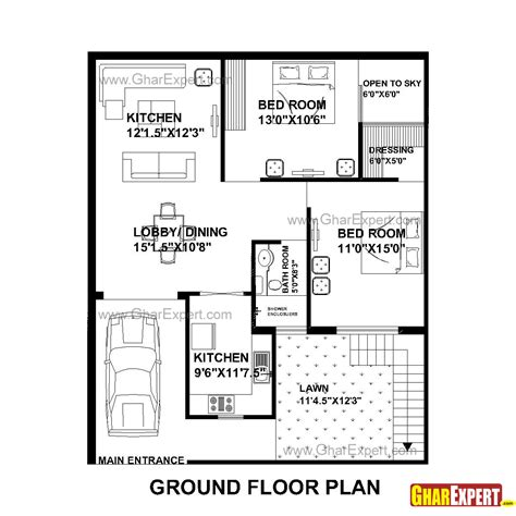 1 home plans house plan for 33 by 40 plot everyone will like