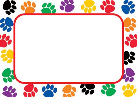 printable name tags with border colorful paw prints name tags labels tcr5168 teacher