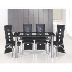 club large black bordered clear glass dining table and 6