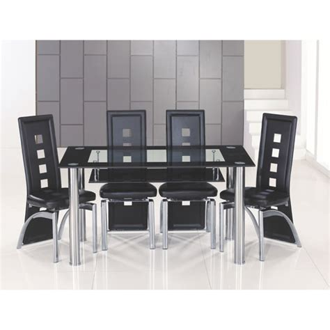 Black Glass Dining Table And 6 Chairs Cheap Club Large Black Bordered Clear Glass Dining Table And 6