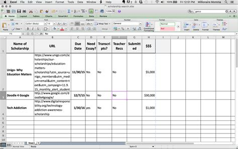 Scholarship Write Up Exle Organize Your Scholarship Search With Free Spreadsheet College Prepped