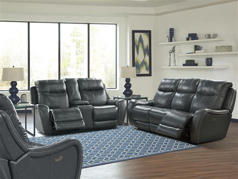Mammoth Denim Dual Power Reclining Living Room Set Mmam Denim Living Room Furniture