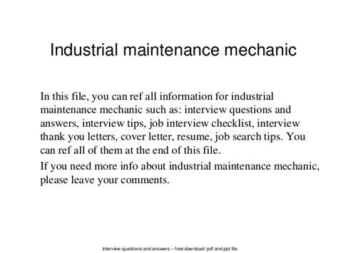 industrial maintenance mechanic