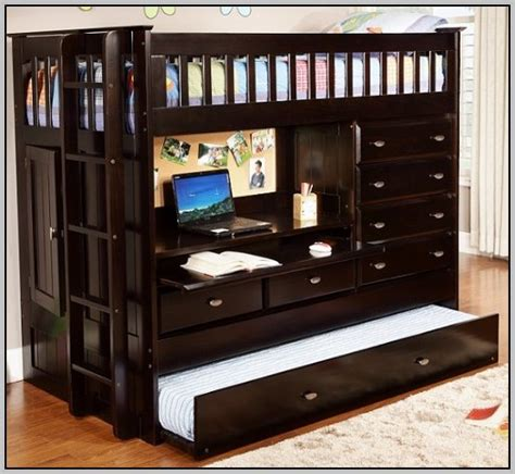 Bunk Bed With Trundle And Drawers Bunk Bed With Desk Drawers And Trundle Desk Home Decorating Ideas Hash