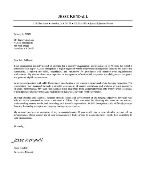 Resume Cover Letter Exles Management exle property manager cover letter cover letter free
