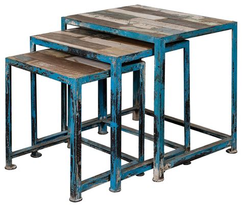 reclaimed wood and iron nesting tables blue set of 3