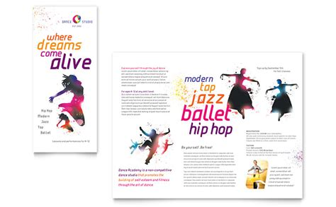 dance studio brochure template word publisher
