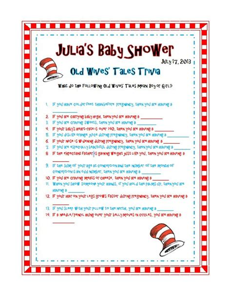 Tales Trivia Baby Shower by 9 Best Images Of Printable Dr Seuss Trivia Dr Seuss