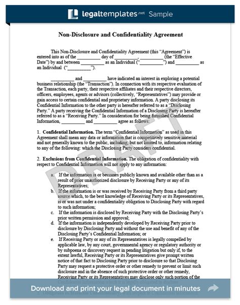 Non Disclosure Agreement Template Create A Free Nda Form Legal Templates Confidentiality And Nondisclosure Agreement Template