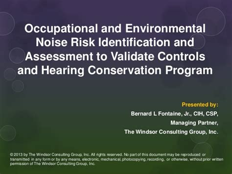 understanding and assessing risk shawn adderly occupational noise exposure and hearing conservation