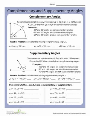 Complementary And Supplementary Angles Worksheets by Complementary And Supplementary Angles Worksheet