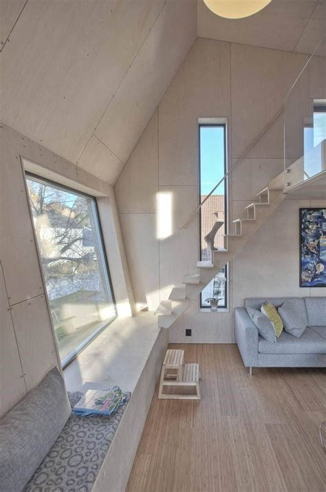 Home Designer Suite Angled Wall Angular Home Addition With Plywood Lined Interior Modern
