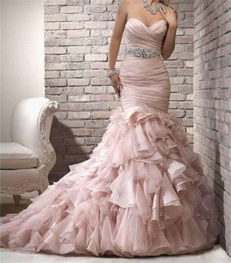 blush mermaid wedding gown wedding dresses pinterest