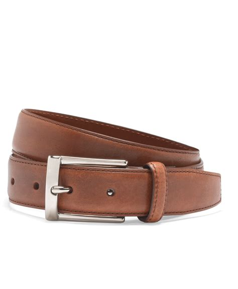 brothers silver buckle dress belt in brown for