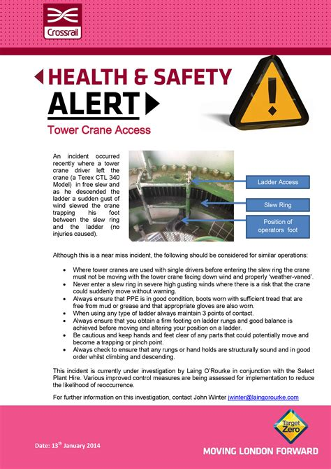 incident alert template safety alerts crossrail learning legacy