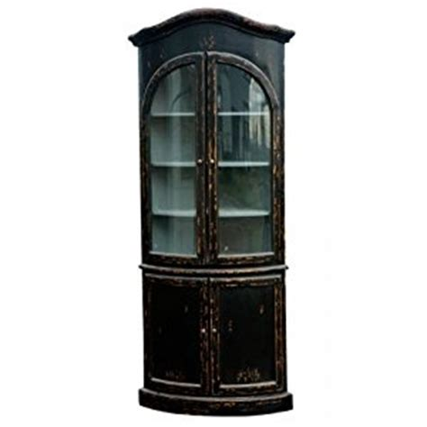 country kitchen corner cabinet distress painted belle noir black french country chateau