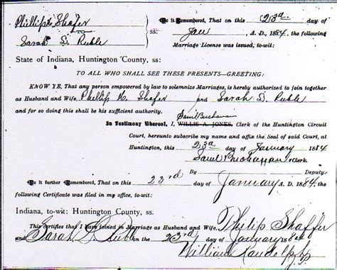 Grant County Indiana Marriage Records Philip Shafer And Ruble